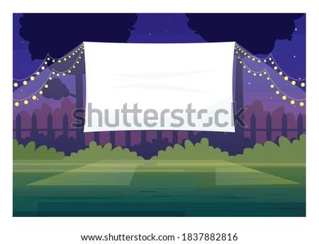 Festive outdoor cinema screen semi flat vector illustration. Open air decorated place with lanterns. Film premiere outside. Public park. Outdoors movie night 2D cartoon scene for commercial use Royalty-Free Stock Photo #1837882816
