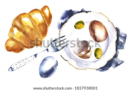 Watercolor hand drawn lunch composition with eggs and green olives on the plate with fork and croissant. Hand painted breakfast top view. Watercolor food set of element isolated on white background.