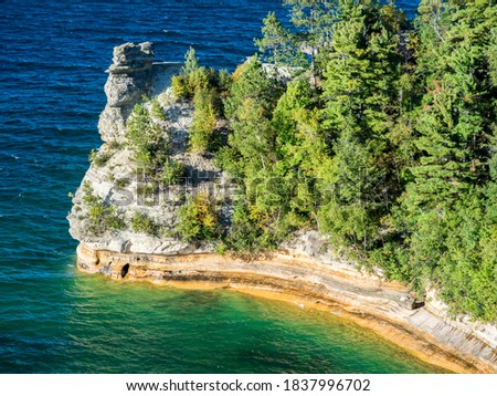 US, Michigan, Upper Peninsula. Miners Castle along shoreline of Picture Rock National Park in Michigan.