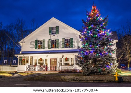 USA, Massachusetts, Cape Ann, Gloucester. Annisquam Village Hall with Christmas Tree at dusk. Royalty-Free Stock Photo #1837998874