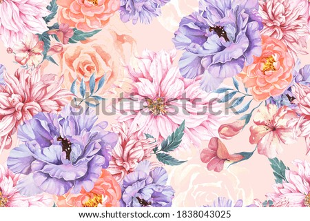 Seamless pattern of chrysanthemum, rose, peony and Blooming flowers with watercolor on pastel colors. Design for fabric luxurious and wallpaper, vintage style. Hand drawn floral pattern.Botany garden.
