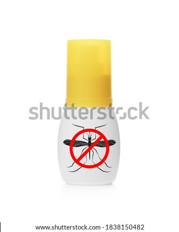 Bottle of insect repellent on white background Royalty-Free Stock Photo #1838150482