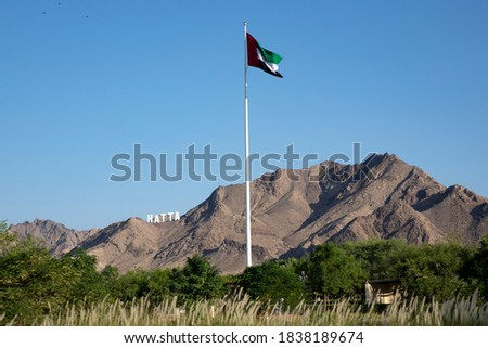 A unique photograph of the Flag with the mountains