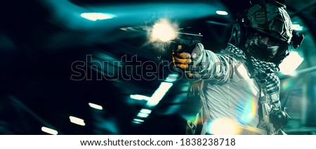 special forces soldier in battlefield . modern warfare. Royalty-Free Stock Photo #1838238718