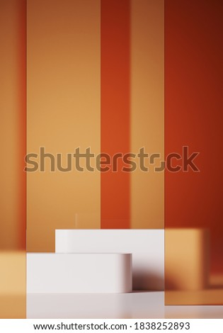 Minimal background for branding and product presentation. Orange frosted glass panel and white podium on blue background. 3d rendering illustration. Clipping path of each element included.