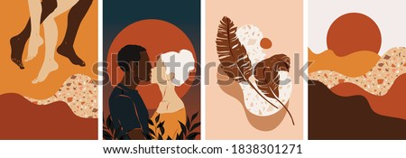 Collection of contemporary abstract art posters. Paper cut male & female, abstract & floral collages, landscape scenes. Design for social media, wallpapers, postcards, prints, romance. Royalty-Free Stock Photo #1838301271