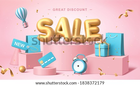 Sale poster in 3d pastel illustration, with cute balloon word on podium with some shopping related elements #1838372179