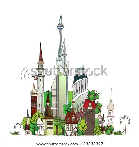 Town illustration #183838397