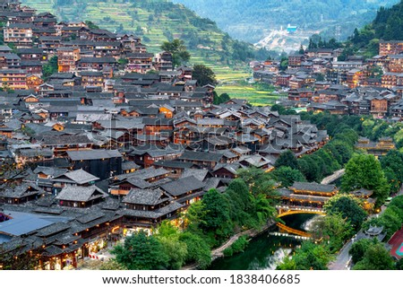 China Guizhou Xijiang Miao Village Royalty-Free Stock Photo #1838406685