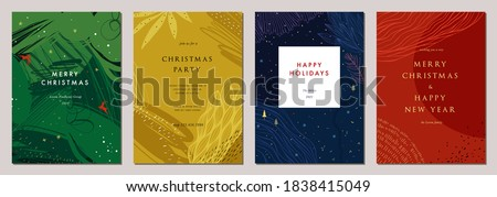 Modern universal artistic templates. Merry Christmas Corporate Holiday cards and invitations. Abstract frames and backgrounds design. Vector illustration. #1838415049