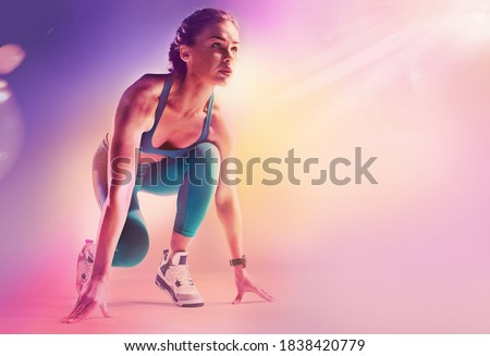 Sports background. Runner on the start.