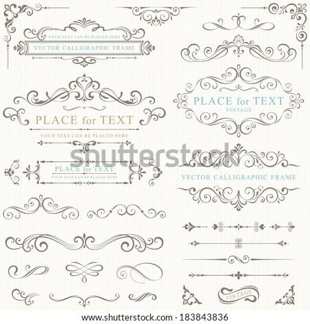 Ornate frames and scroll elements. Royalty-Free Stock Photo #183843836