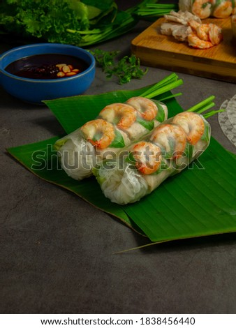 spring rolls with shrimps and pork - vietnamese food Royalty-Free Stock Photo #1838456440