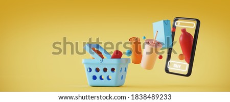 Minimal background for online shopping and digital marketing concept. Mobile phone with basket and grocery on yellow background. 3d rendering illustration. Clipping path of each element included.