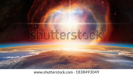 """Supernova explosion in the center of galaxy """"Elements of this image furnished by NASA """" Royalty-Free Stock Photo #1838493049"""