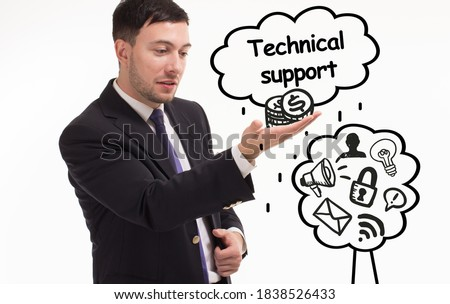 Business, technology, internet and network concept. Young businessman thinks over the steps for successful growth: Technical support #1838526433