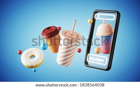 Minimal background for online food delivery concept. Mobile phone with food and beverage on blue background. 3d rendering illustration. Clipping path of each element included.
