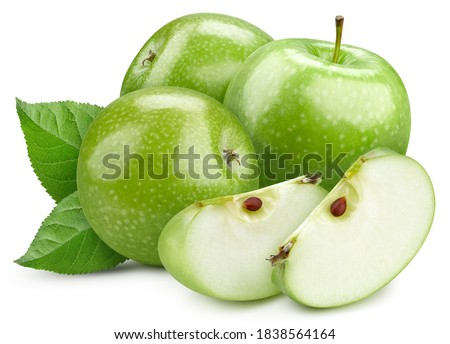 Pile of green apple. Fresh apple on a white background. Professional studio macro shooting. With clipping path Royalty-Free Stock Photo #1838564164