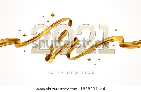 2021 New Year  logo with golden paint brushstroke..   New Year sign with golden ribbon. Vector illustration. Royalty-Free Stock Photo #1838591164