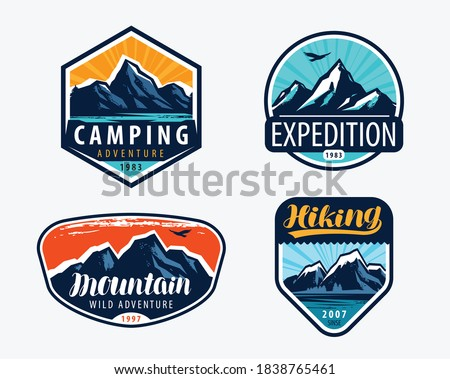 Mountains set labels. Mountaineering, climbing concept vector illustration