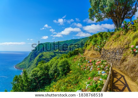 Viewpoint Ponta do Sossego, Sao Miguel Island, Azores, Portugal. View of flowers on a mountain and the ocean in Miradouro da Ponta do Sossego Nordeste, Sao Miguel, Azores, Portugal. Royalty-Free Stock Photo #1838768518
