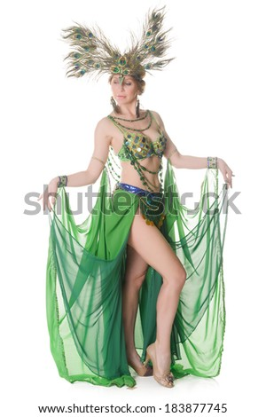 cabaret girl in green dress in the studio #183877745