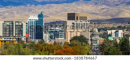 Panoramic view of downtown Boise, Idaho and the foothills Royalty-Free Stock Photo #1838784667