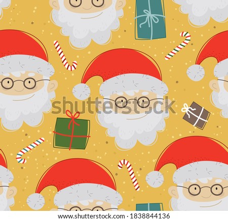 Cartoon Santa Claus with gifts. Seamless Christmas pattern.  Winter background for fabric, textile, wallpaper, posters, gift wrapping and paper, napkins. Print for kids, children