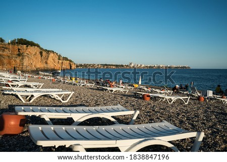 Famous Konyaaltı beach, Antalya city, cliffs and Mediterranean. TURKEY Royalty-Free Stock Photo #1838847196