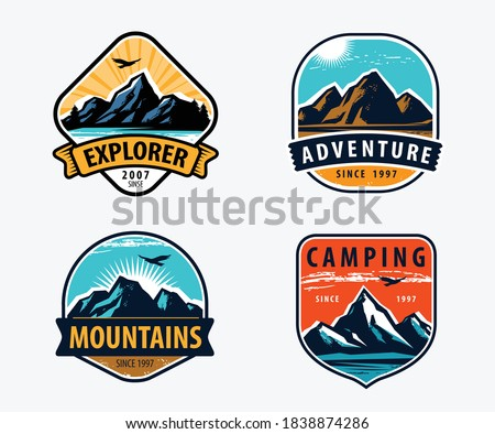 Mountains set labels. Mountaineering, climbing, hiking vector illustration