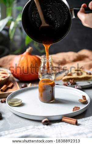 Pumpkin spice latte syrup recipe pictures, cooking pumpkin spice latte homemade from scratch. Sweet tasty syrup with cinnamon, ginger, nutmeg,  cloves and cardamom. Thanksgiving holidays fall beverage