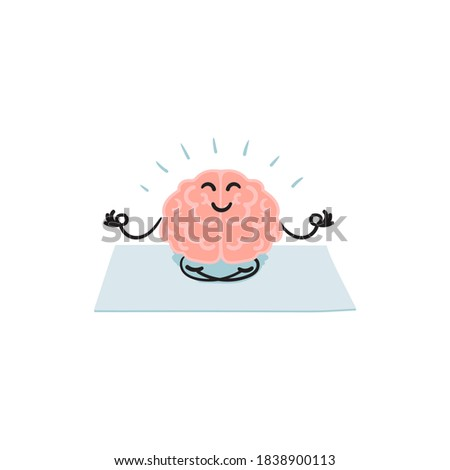 Keep calm concept.Meditating cartoon brain in lotus  position. Clip art illustration isolated on white background.