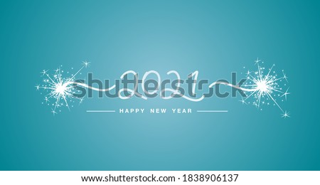 Happy New Year 2021 handwritten line design tipography numbers sparkle firework sea green aqua color background banner Royalty-Free Stock Photo #1838906137