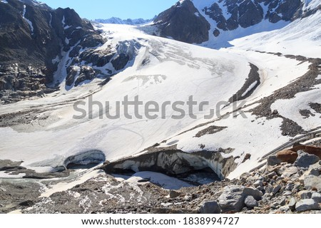 Glacier Taschachferner with glacier mouth and mountain snow panorama in Tyrol Alps, Austria Royalty-Free Stock Photo #1838994727