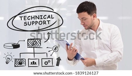 Business, technology, internet and network concept. Young businessman thinks over the steps for successful growth: Technical support #1839126127