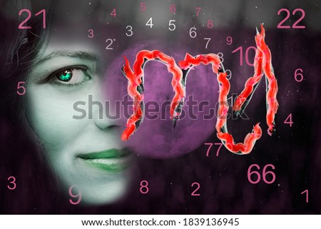 Woman and scorpio horoscope astrological symbol
