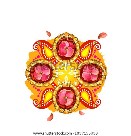 Happy Diwali digital art illustration isolated on white background. Hindus festival of lights. Deepavali hand drawn graphic clip art drawing for web, print. Decorative indian ornaments logo signs