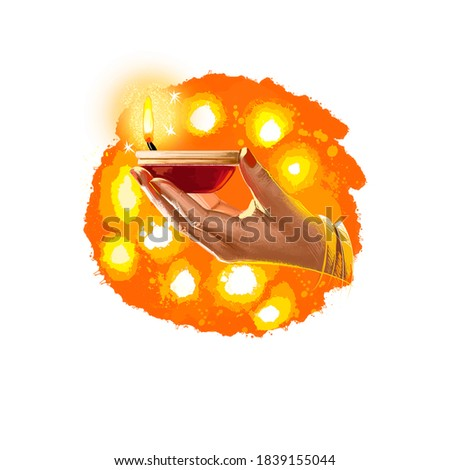 Happy Diwali digital art illustration isolated on white background. Indian festival of lights. Deepavali hand drawn graphic clip art drawing for web, print. Woman holding burning oil lamp in hand