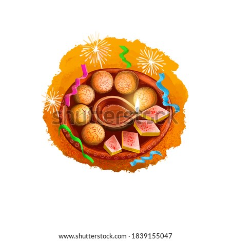 Happy Diwali digital art illustration isolated on white background. Indian festival of lights. Deepavali hand drawn graphic clip art drawing for web, print. Burning oil lamp on plate with sweets
