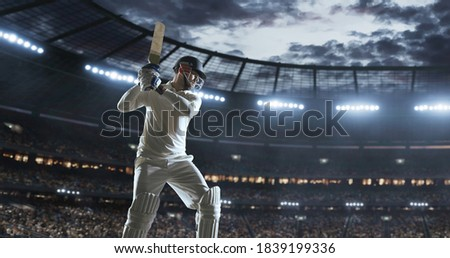 Cricket player in action on a professional stadium. Stadium is made in 3d.