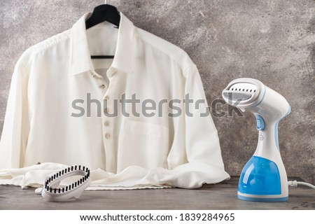 Portable home and travel garment steamer for clothes. Housework Royalty-Free Stock Photo #1839284965