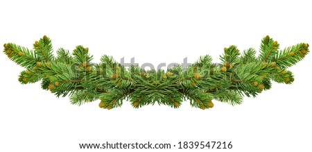 Green Christmas border of pine branch, isolated on white background. Xmas garland decoration. Border of branch christmas tree. poster for Christmas and winter holidays. Garland/wreath of pine branches #1839547216