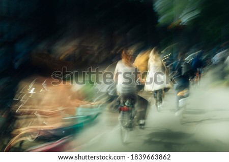 Abstract photography, riding a bike somewhere in Amsterdam