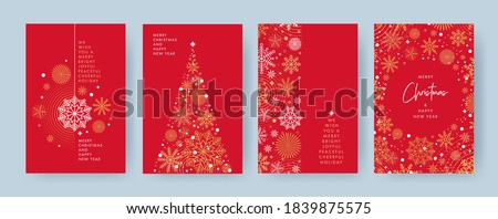 Merry Christmas and Happy New Year Set of greeting cards, posters, holiday covers. Xmas Design with beautiful snowflakes in modern line art style on red background. Christmas tree, border frame, decor Royalty-Free Stock Photo #1839875575