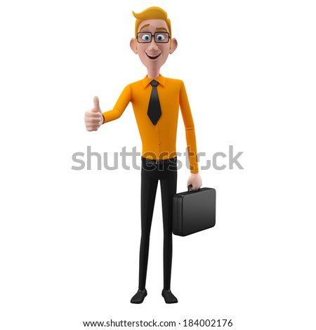 3d funny person, cartoon popular business man, student, nice person in suit with glasses and tie, isolated on white background, thumbs up