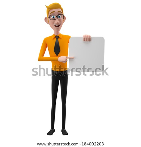3d funny person, cartoon popular business man, student, nice person in suit with glasses and tie, isolated on white background