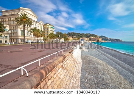 English promenade famous walkway and beach in city of Nice, French riviera, Alpes Maritimes, France Royalty-Free Stock Photo #1840040119