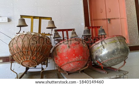 Indian Traditional Classical Musical Instruments which consists of Tabla and Harmonium. Ethnic musical instrument tabla in the interior of the chill-out