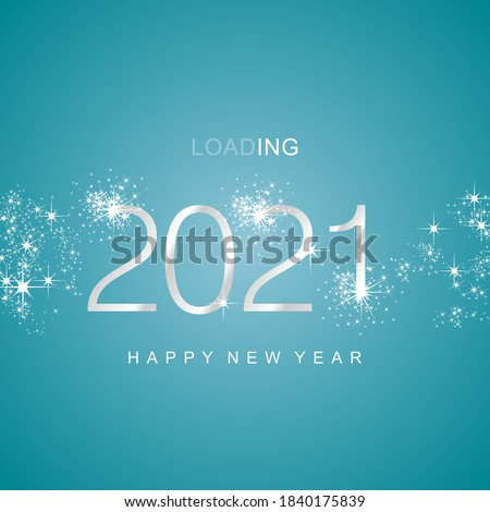 New Year 2021 loading silver white sparkle firework numbers sea green aqua color vector #1840175839