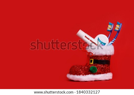 Dentist Happy Merry Christmas And New Year Composition Gift Card Mail Or Banner Template With Copy Space.